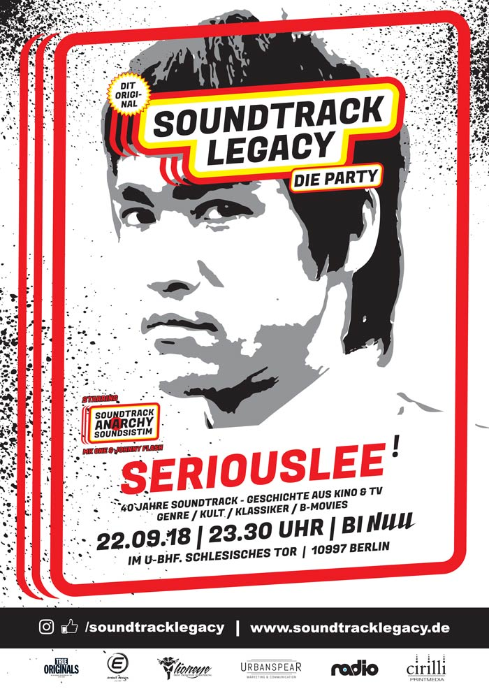Plakat der Soundtrack Legacy Party am 22.09.2018 im Bi Nuu